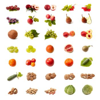 Isolated fruit and vegetable set on white background Isolated fruit and vegetable set on white background