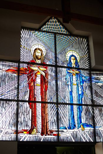 Stained glass with Jesus and Mary Stained glass with Jesus and Mary
