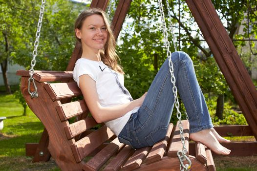 Teenage Girl Relaxing. Young girl have rest.