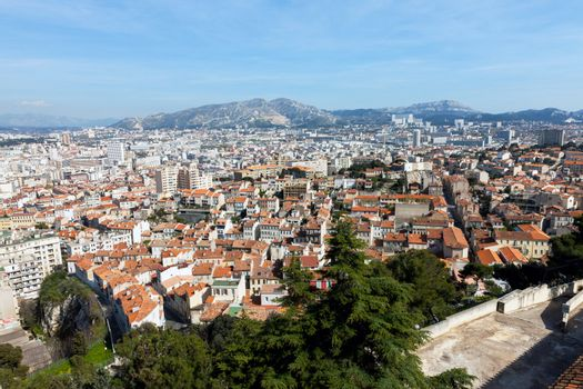 Panoramic aerial view on Marseille from mountain