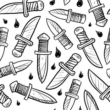 Doodle style knife background designed to be tiled. Vector format.