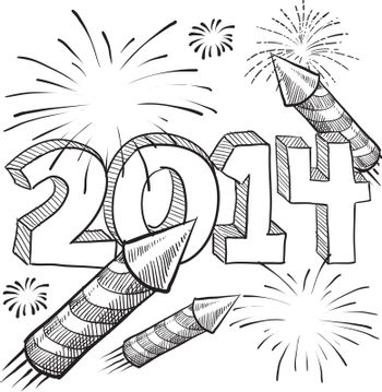 Doodle style 2014 New Year illustration in vector format with retro fireworks celebration background