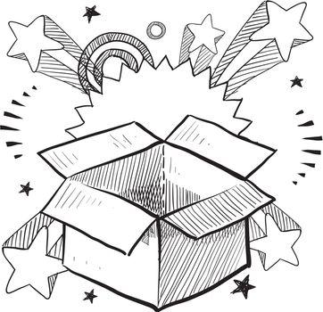 Package excitement vector sketch