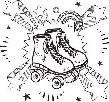 Roller skates excitement sketch