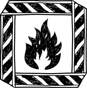 Flammable materials warning vector sketch