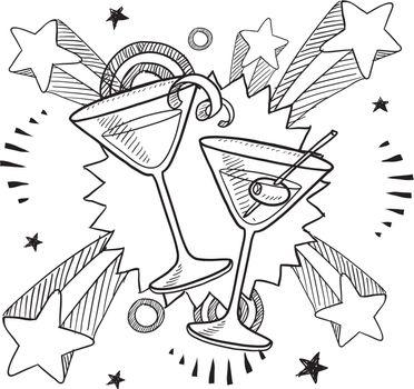 Martini excitement vector sketch