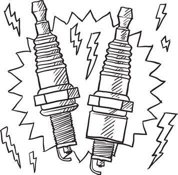 Spark plug vector sketch