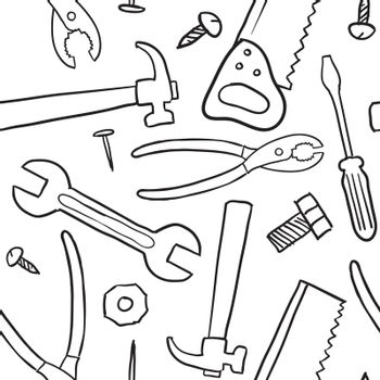 Doodle style mechanic, carpenter or handyman tool background - seamless and ready to be tiled in vector format.