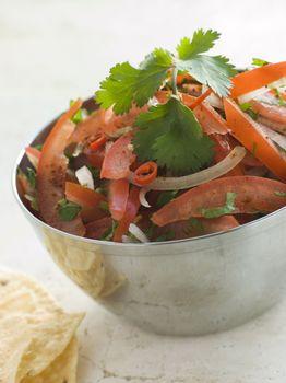 Dish of Tomato Red Onion and Coriander Relish