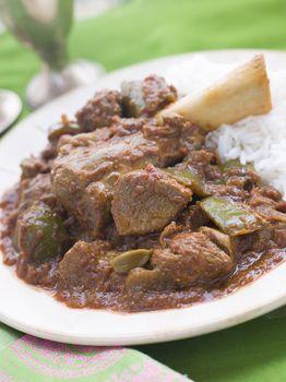 Lamb Shank Rogan Josh Gosht with Plain Basmati Rice