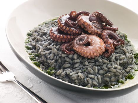 Risotto Nero with Fried Octopus and Pesto Dressing