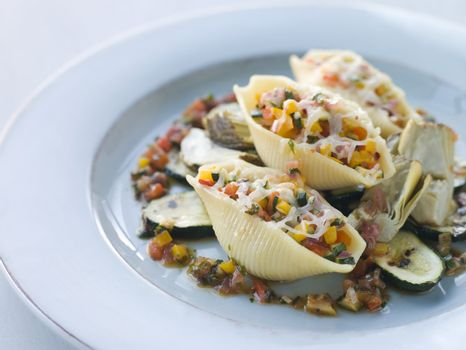 Conchiglioni Pasta filled with Mediterranean Vegetables and Baby
