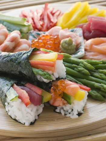 Seafood and Vegetable Hand Rolled Sushi