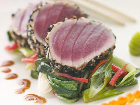 Seared Yellow Fin Tuna with Sesame Seeds Sweet Fried pac Choi an