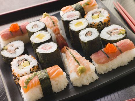 Selection of Seafood and Vegetable Sushi on a Tray