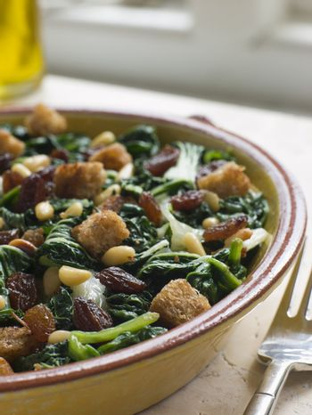 Silverbeets Sultanas and Pine Nuts