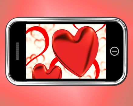 Red Hearts On Mobile Showing Love And Romance