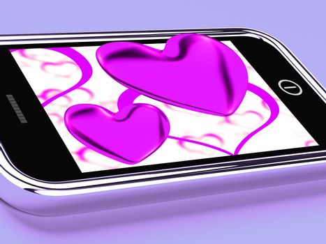 Purple Hearts On Mobile Showing Love And Romance