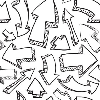 Doodle style seamless arrow background in vector format, ready to tile.
