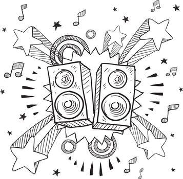 Stereo speakers explosion vector sketch