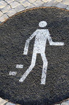 pedestrian sign on the street,