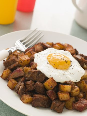 Corned Beef Hash With a Fried Egg and Black Pepper