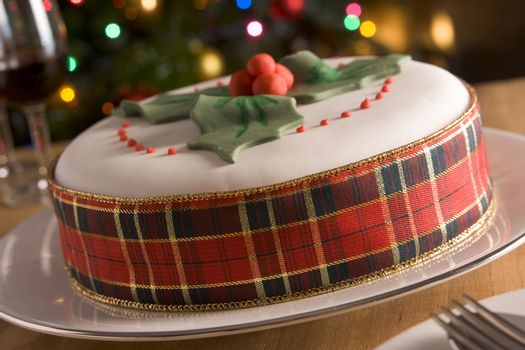 Decorated Christmas Fruit Cake