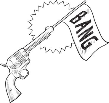 Comic pistol vector sketch