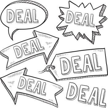 Deal retail labels vector