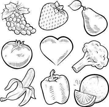 Healthy produce vector assortment