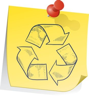 Remember to recycle sticky note vector