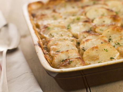 Dish of Boulangere Potatoes