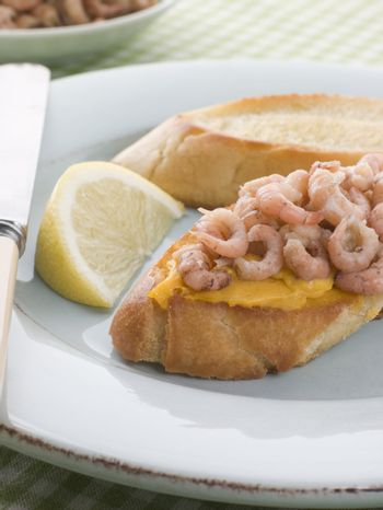 Rouille and Brown Shrimps on Toasted Baguette