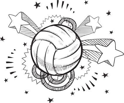 Volleyball excitement sketch