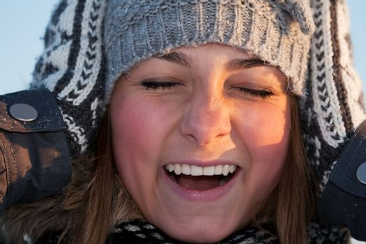 portrait of a beautiful girl close up in winter