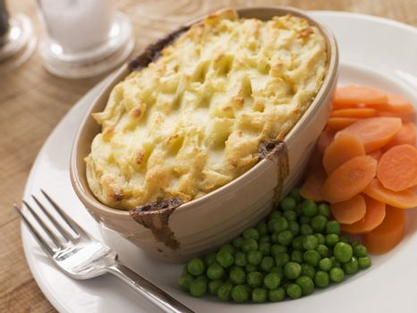 Individual Cottage Pie with Peas and Carrots
