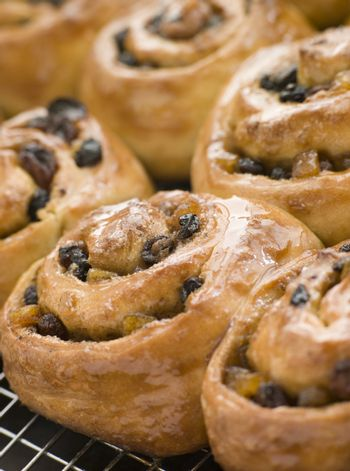 Chelsea Buns on a cooling rack