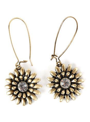 a pair of women's earrings with precious stone