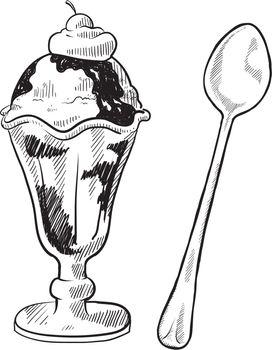 Ice cream sundae sketch