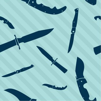 Knife and blade seamless repeating tiled background in vector format