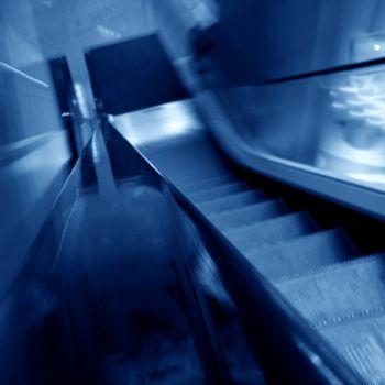 blurred escalator