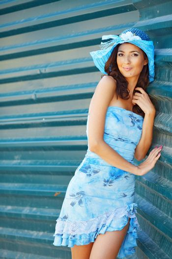 Portrait of fashion young beautiful woman in summer clothing