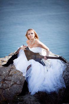 Bride with guitar