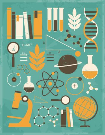 A set of science and education icons in vintage style.