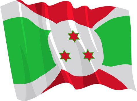 Political waving flag of Burundi