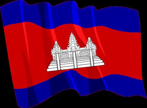 Political waving flag of Cambodia