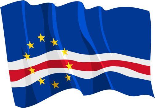 Political waving flag of Cape Verde