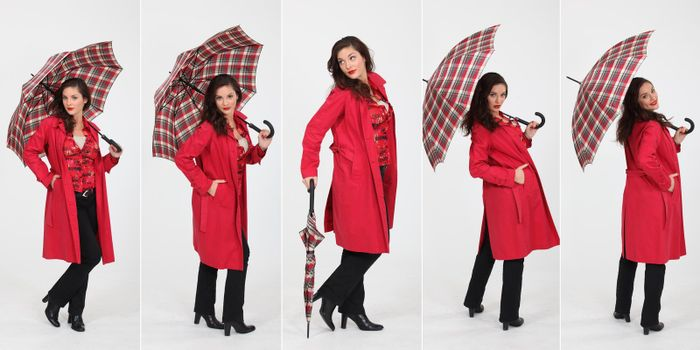 Montage of fashionable woman with umbrella