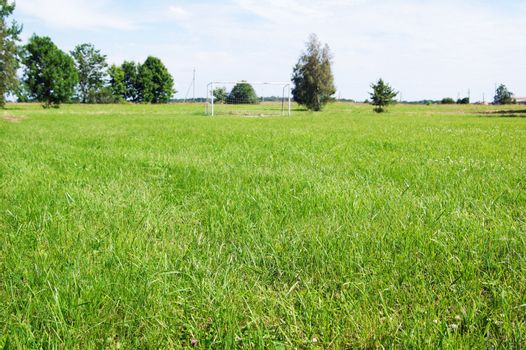 Football field in a countryside