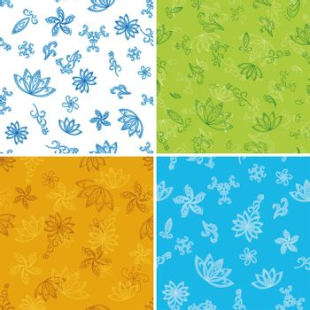 Set abstract seamless floral backgrounds with outline symbolical flowers